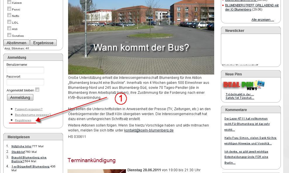 Registrierung auf www.koeln-blumenberg.de