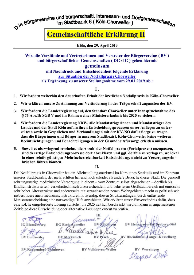 Notfallpraxis Chorweiler - Gemeinsame Erklärung