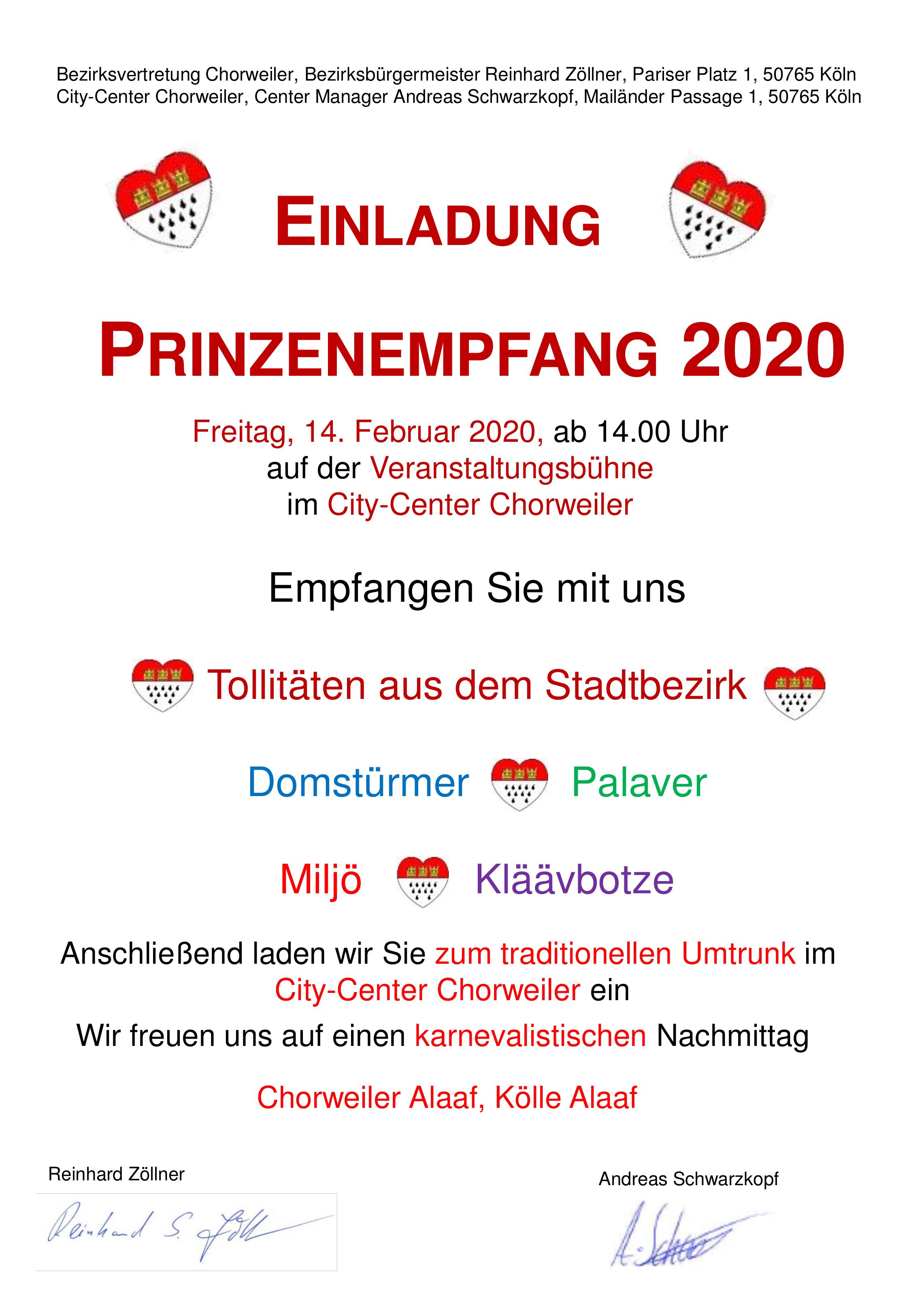 Einladung Prinzenempfang 2020
